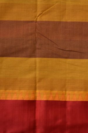 Blue red checks cotton saree with red silk border 2
