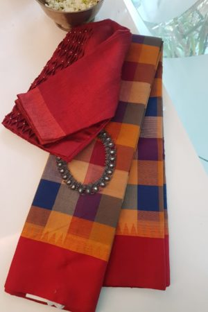 Blue red checks cotton saree with red silk border