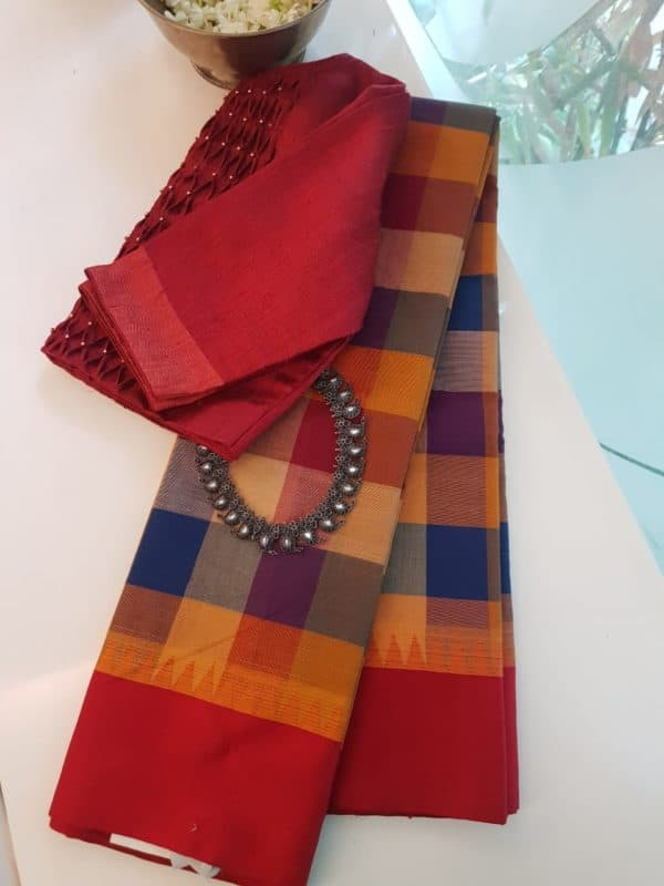 Blue red checks cotton saree with red silk border