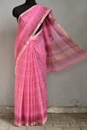 Bright pink kota doriya block print saree 1