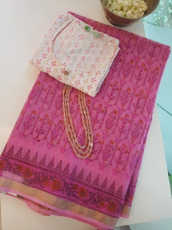 Bright pink kota doriya block print saree