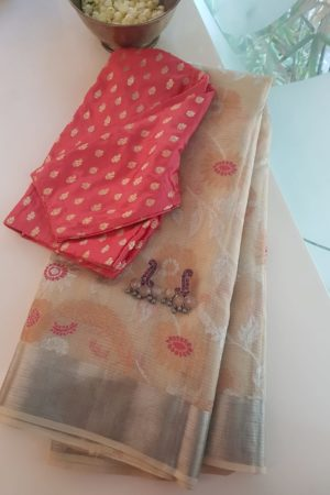Cream and pink real zari kota saree