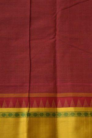 Dark green cotton saree with mustard silk border 2