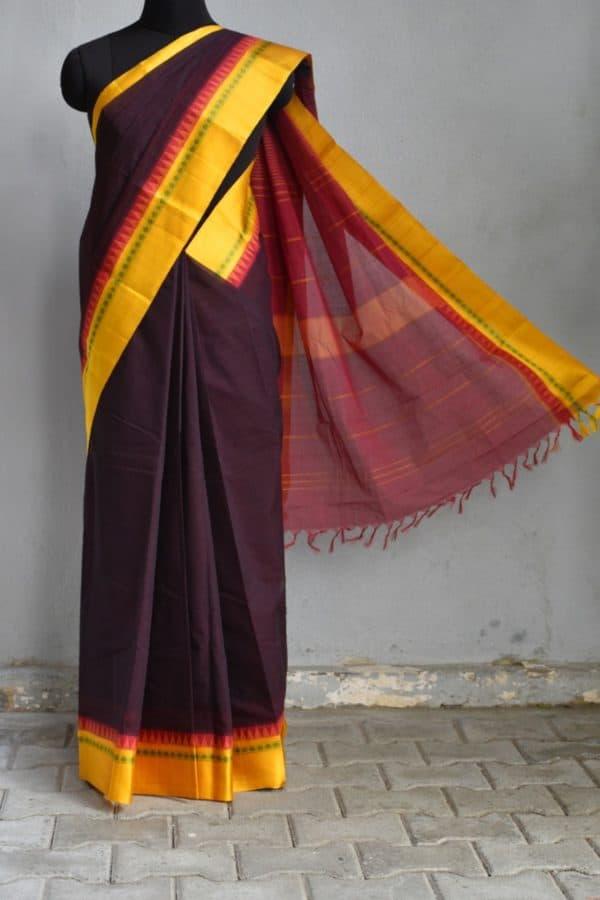 Deep brown cotton saree with mustard silk border saree 1