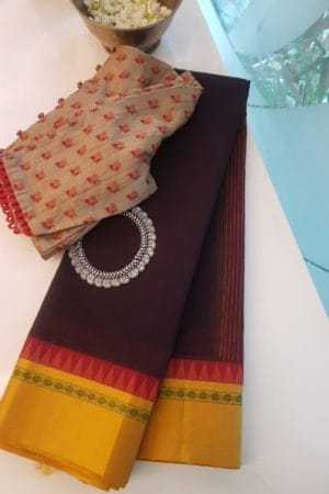 Deep brown cotton saree with mustard silk border saree