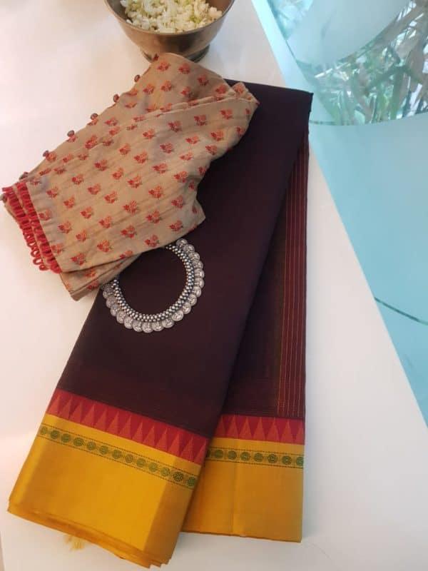 Deep brown cotton saree with mustard silk border saree