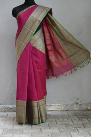 Deep pink long border kanchi cotton saree 1