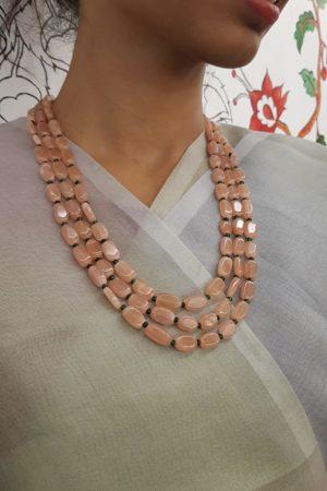 Dusty pink layered beads