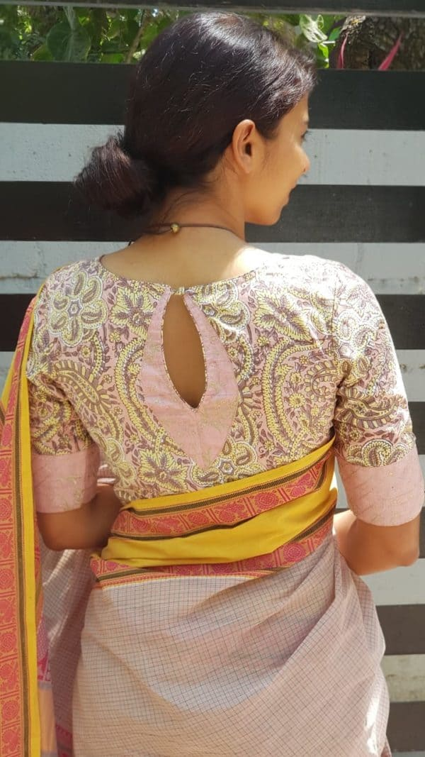 Dusty pink yellow printed cotton blouse