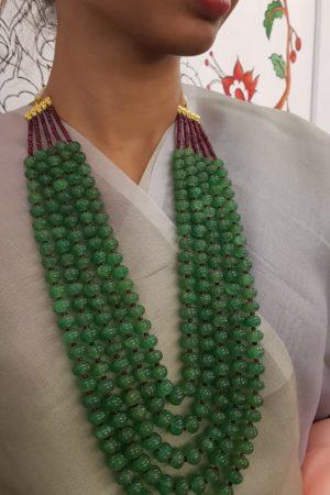 Emerald green watermelon bead string 1