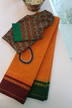 Golden yellow cotton saree with ganga jamuna sil border