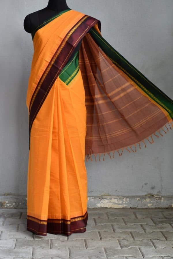 Golden yellow cotton saree with ganga jamuna silk border 1