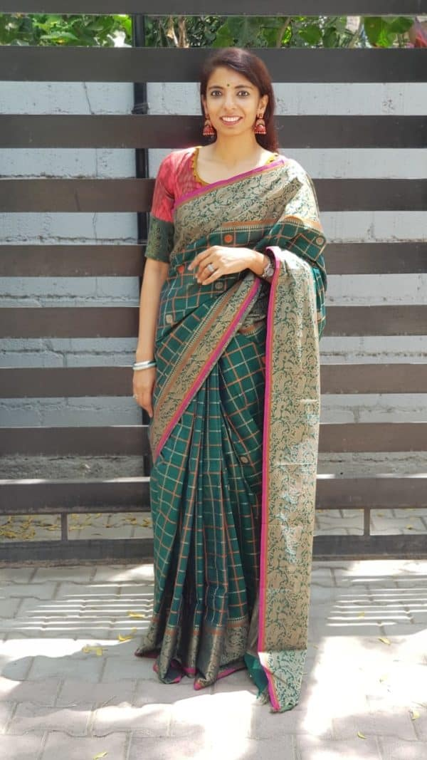 Green checks kanchi cotton saree with vanasingaram border 3