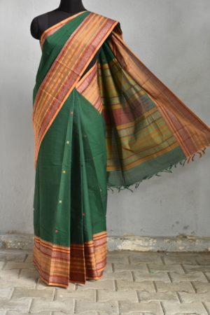 Green long border kanchi cotton saree 1
