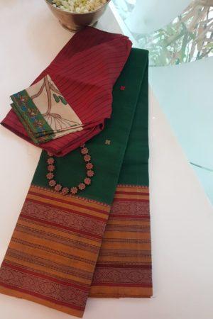 Green long border kanchi cotton saree