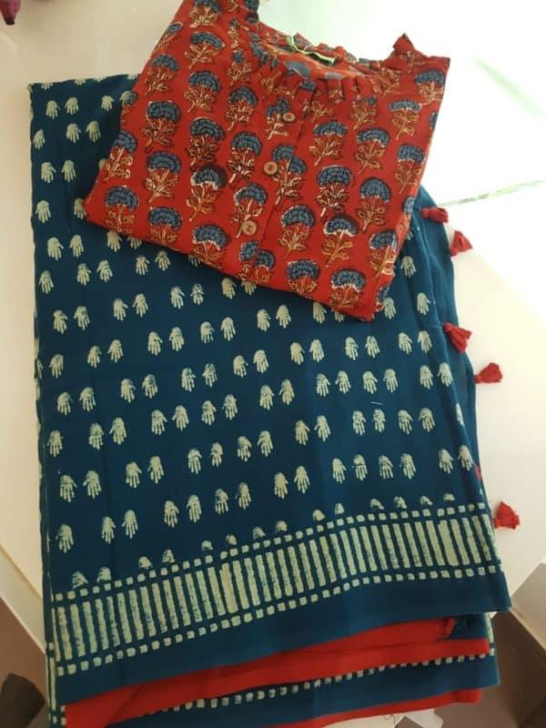Greenish blue mul block print saree