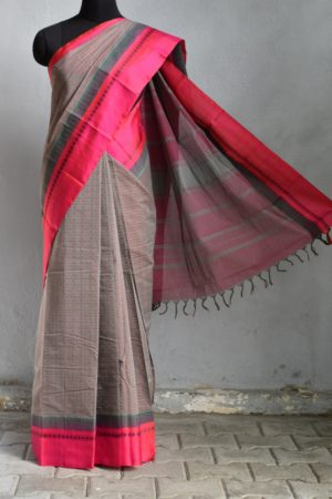 Grey ayiram butta cotton saree with pink silk border 1