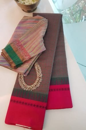 Grey ayiram butta cotton saree with pink silk border