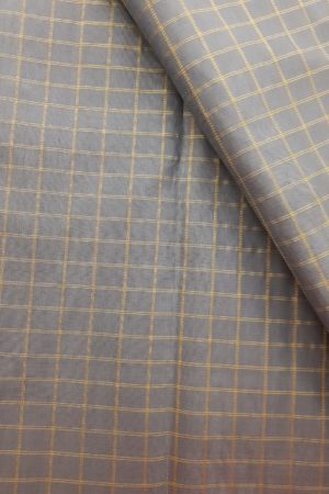Grey checks kanchi silk fabric