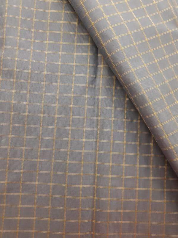 Grey checks kanchi silk fabric