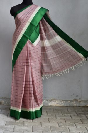 Grey striped cotton saree with green silk border 1