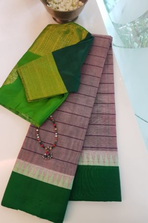 Grey striped cotton saree with green silk border