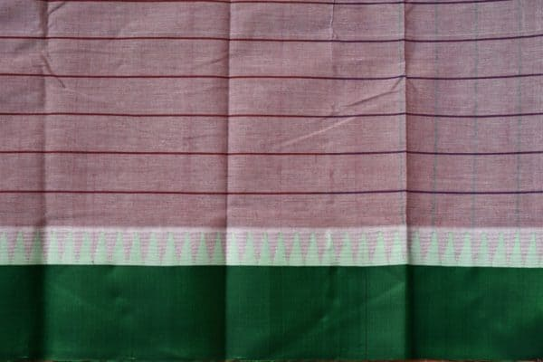 Grey striped cotton saree with green silk border 2