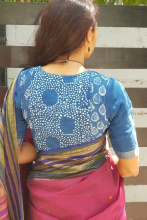 Indigo blue cotton dabu blouse 1