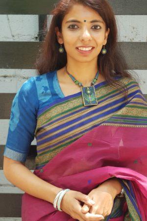 Indigo blue cotton dabu blouse