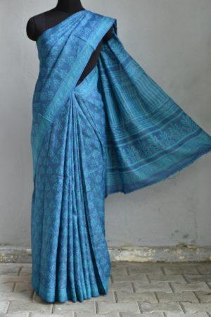 Indigo blue dabu printed tussar saree 1