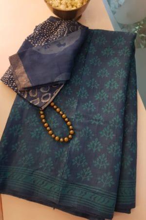 Indigo blue dabu printed tussar saree