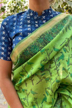 Indigo cotton dabu blouse 1