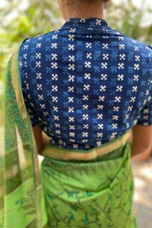 Indigo cotton dabu blouse
