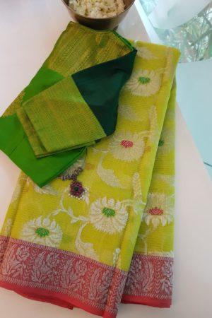 Lemon green with red border real zari kota saree
