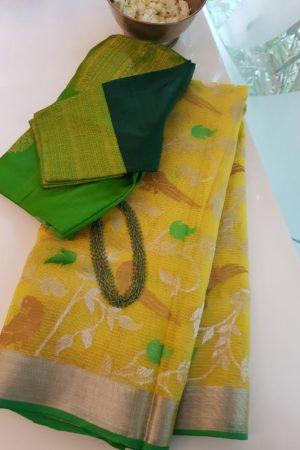 Lemon yellow parrot real zari kota saree