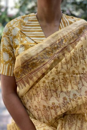 Light beige kota doriya block print saree 1