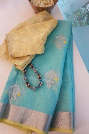 light blue resl zari kota saree with yellow piping border