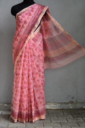 Light pink kota doriya block print saree 1