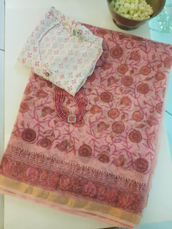 Light pink kota doriya block print saree