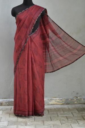 Maroon printed kota doriya saree