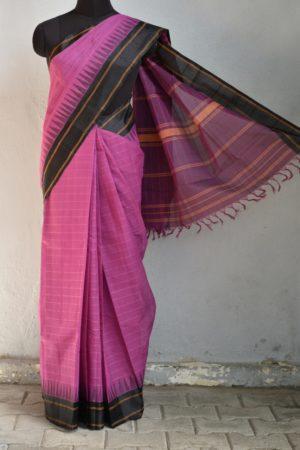 Mauve kanchi cotton saree with black silk border saree 1