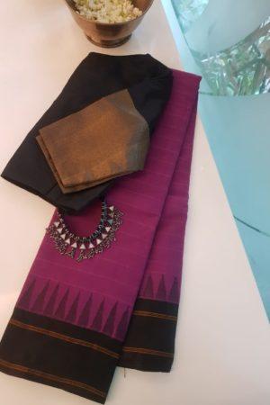Mauve kanchi cotton saree with black silk border saree