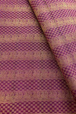Mayil stripes dark pink kanchi silk fabric