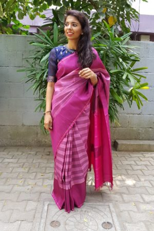 Mulberry pink checks kanchi silk saree