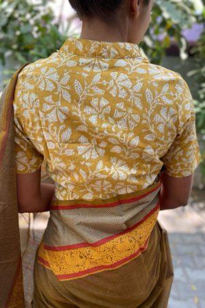 Mustard beige floral blouse