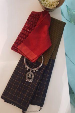 Mustard black kanchi silk saree mat weave 2