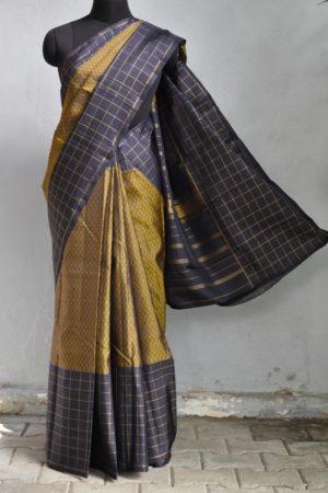 Mustard black kanchi silk saree mat weave