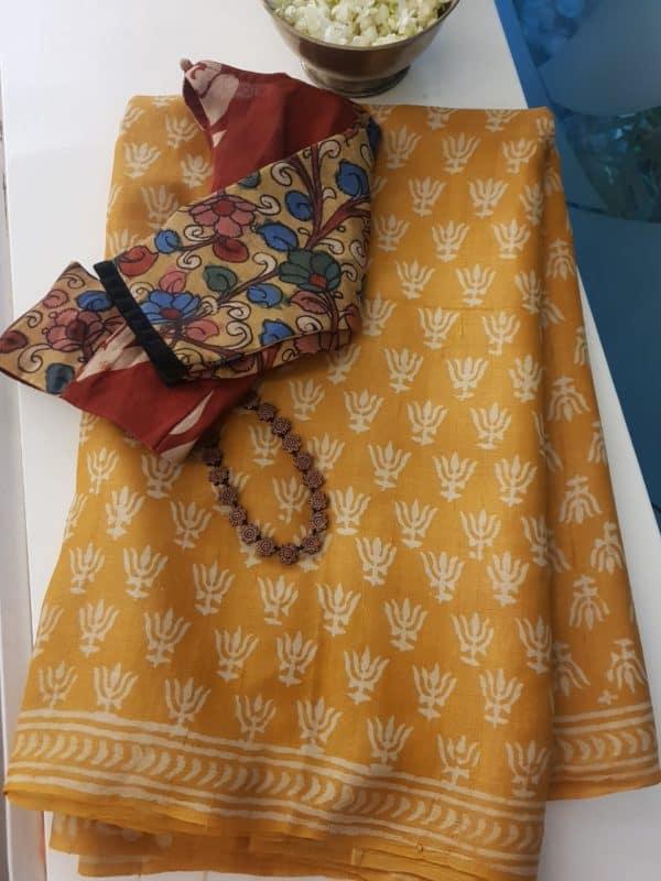 Mustard dabu printed tussar saree