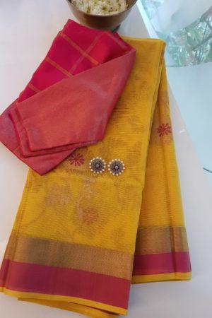 Mustard real zari kota saree with pink border