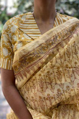Mustard v neck cotton blouse 1